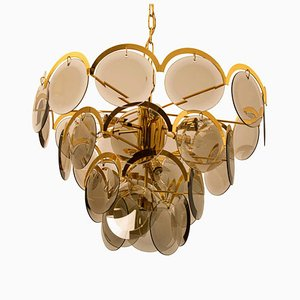 Large Italian Smoked Glass and Brass Chandelier in the Style of Vistosi, 1970s