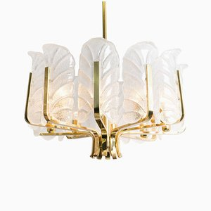 Large Glass & Brass Leaf Chandeliers by Carl Fagerlund for Orrefors, 1960s, Set of 2