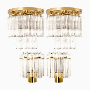 Messing & Glas Deckenlampen von Glashütte Limburg, 1960er, 4er Set