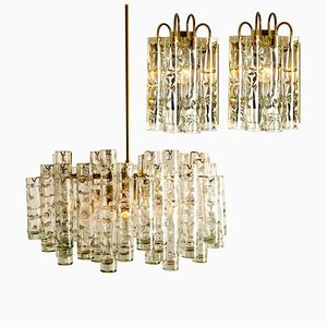 Brass Wall Lights and Chandelier by Doria Leuchten Germany, 1960s, Set of 4