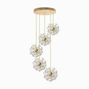 Large Cascade Light Fixture with 5 Sputniks in the Style of Emil Stejnar, 1960s