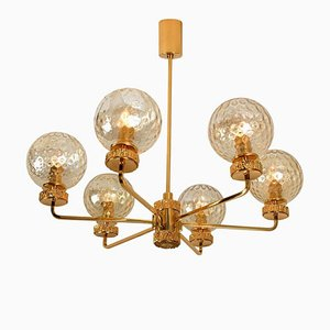 Large Italian Gold-Plated Blown Glass Chandelier in the Style of Brotto, 1970s