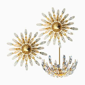 Italian Crystal and Gilded Brass Light Fixtures by Stilkronen, 1970s, Set of 3