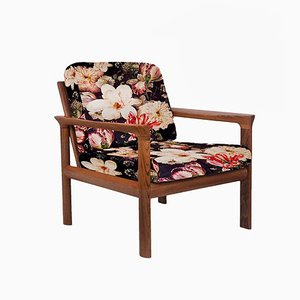 Floral Upholstered Sculptural Easy Chairs by Sven Ellekaer, 1960s, Set of 2