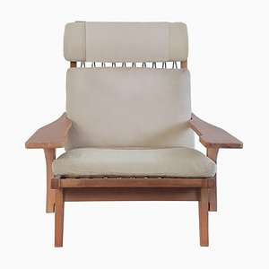 GE 375 Lounge Chair Special Edition with Original Elastic Webbing by J. Wegner
