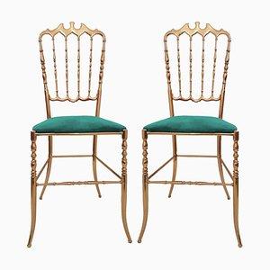 Italian Brass & Emerald Green Velvet Chairs by Chiavari, 1960s