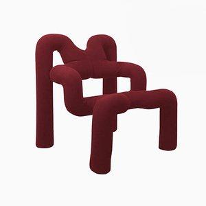 Norwegische Bordeaux Sessel von Terje Ekstrom, 1980er, 2er Set