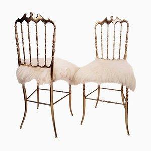 Italian Massive Brass & Wool Chairs by Chiavari, 1960s, Set of 2