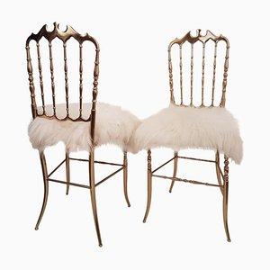 Italian Massive Brass & Wool Chair by Chiavari, 1960s