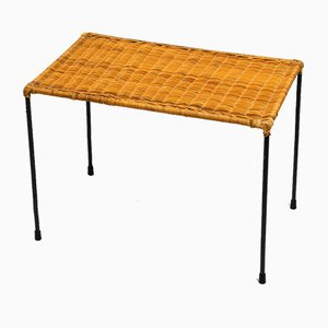 Mid-Century Rattan and Black Metal Side Table, 1960s