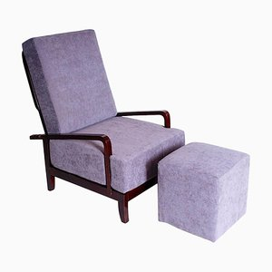 Art Deco Adjustable Armchair with Footstool, 1930s, Set of 2
