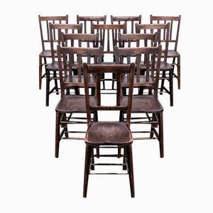Chaises de Salle à Manger Chapelle d'Eglise en Orme Noir, 1920s, Set de 12