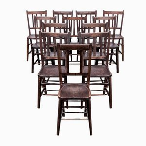 Dark Elm Church Chapel Dining Chairs, 1920s, Set of 12