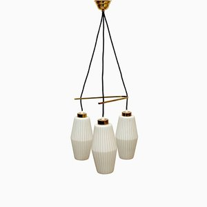 Italian Opaline Glass and Brass Triangle Ceiling Lamp, 1950s