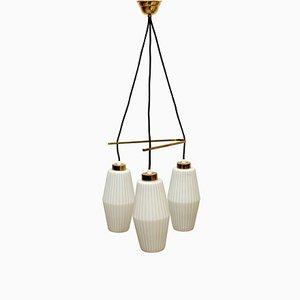 Italienische dreieckige Deckenlampe aus Opalglas & Messing, 1950er