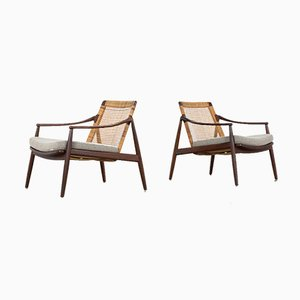 German Walnut & Kvadrat Fabirc Lounge Chairs by Hartmut Lohmeyer for Wilkhahn, 1962, Set of 2