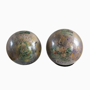 Glass Wig Balls with Chromolithographs Decoration, 1907, Set of 2