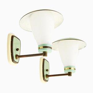 Weiße Opalglas Wandlampen, 1950er, 2er Set