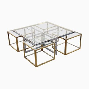 French Chrome & Brass Coffee Table by Maison Charles, 1960s