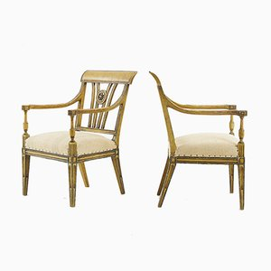 Vintage French Painted Chairs, Set of 2