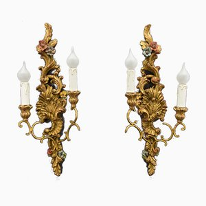 Rococo Style Carved and Polychrome Painted Wooden Sconces, 1930s, Set of 2
