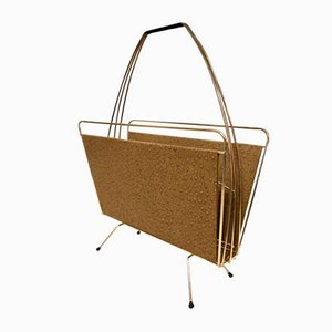 Mid-Century Magazine Rack with Ostrich Leather Imitation, 1960s
