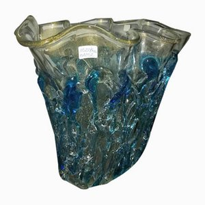Jarrón de cristal turquesa de Sergio Costantini