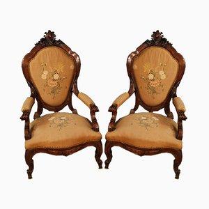 Italienische Louis Philippe Stühle aus Nussholz, 19. Jh., 2er Set