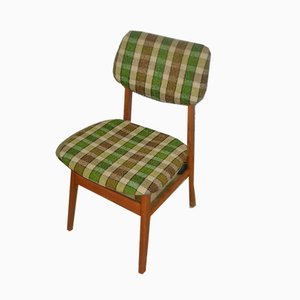Mid-Century Green Checkered Dining Chairs, Set of 4