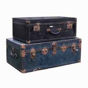 Vintage Leather Trunks, 1920s, Set of 2