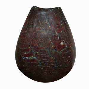 Multi Colored Fondo Burgundy Vase by Paul Crepax