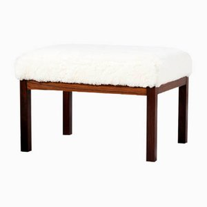 Danish Cabinetmaker Rosewood Ottomans with Sheepskin Upholstery, 1950s, Set of 2