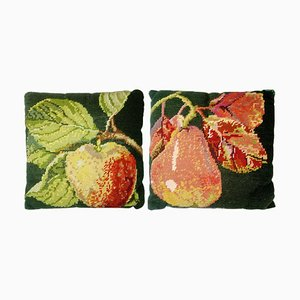 Vintage Swedish Petit Point Embroidey Cushions, 1930s, Set of 2