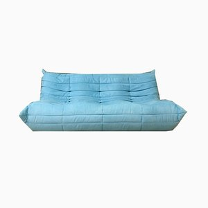 Mid-Century Blue 3-Seat Sofa by Michel Ducaroy for Ligne Roset