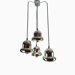 Mid-Century Space Age Chrome Metal Cascade 4-Light Ceiling Lamp