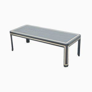 Art Deco Black Painted Wood and Brass Coffee Table, 1940s
