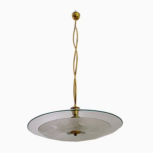 Mid-Century Brass and Glass Church Chandelier by Pietro Chiesa for Fontana Arte, 1940s