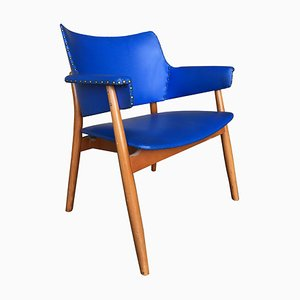 Swedish Blue Leatherette Armchairs, 1960s, Set of 2