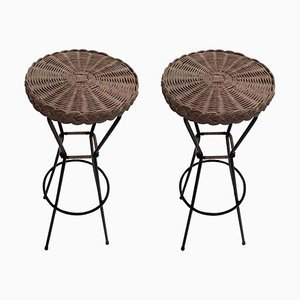 French Rattan Barstools with Black Metal Frames, 1960s, Set of 2