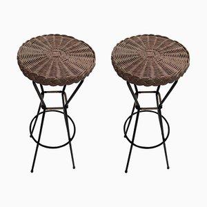 Tabourets de Bar en Rotin avec Structures en Métal Noir, France, 1960s, Set de 2
