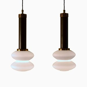 Italian Frosted Glass Pendant Lamps from Stilnovo, 1950s, Set of 2