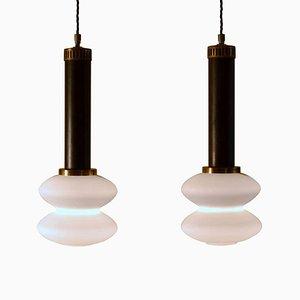 Lampes à Suspension en Verre Givré de Stilnovo, Italie, 1950s, Set de 2