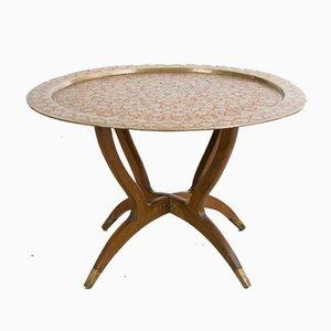 Table Vintage en Cuivre avec Motifs Floraux, Maroc