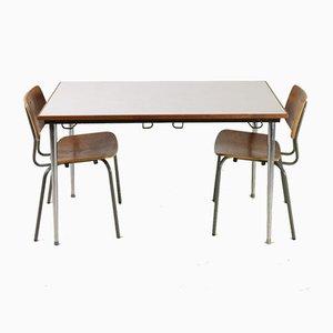 Set Table & Chaises d'Ecole Vintage, 1970s, Set de 3
