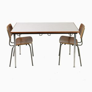 Vintage Schultisch & Stühle Set, 1970er, 3er Set