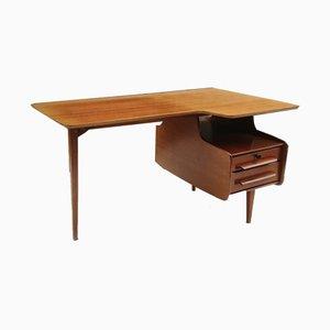 Mid-Century Freeform Teak Veneer Desk by Jacques Hauville, 1950s