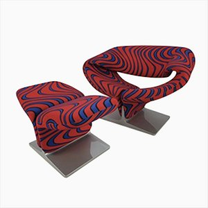Model Ribbon Lounge Chair and Stool Set by Pierre Paulin for Artifort, 1980s