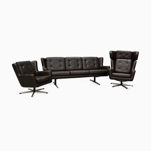 Vintage Danish Leather Living Room Set from Sørensen, 1960s, Set of 3