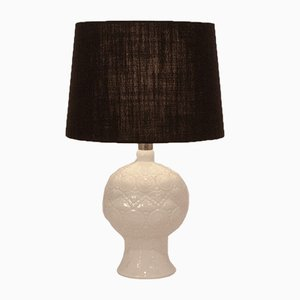 Mid-Century Spanish White Porcelain and Black Shade Table Lamp from lladro, 1970s