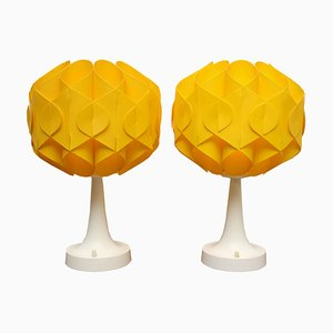 Tulip Tischlampen aus gelbem Kunststoff, 1970er, 2er Set